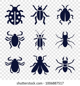 Beetle icons. set of 9 editable filled beetle icons such as beetle, fly