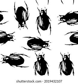 beetle living in water , entomology, chitin, science, insect pest , black and white seamless pattern