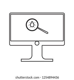 beetle in the magnifier on the monitor screen icon. Element of cyber security for mobile concept and web apps icon. Thin line icon for website design and development