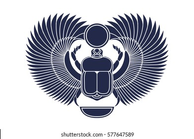 Beetle scarab with wings, sun and a crescent moon. Ancient Egyptian culture. God Khepri Sun morning dawn. The emblem, logo. Silhouette. Object isolated on white background. Vector illustration.