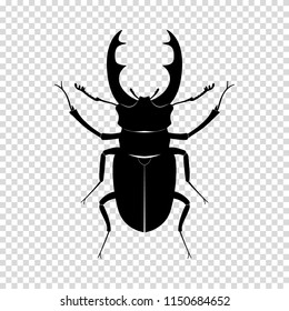 Beetle-deer. Insect, wildlife. Black silhouette of a beetle on a transparent background. Flat design. Vector EPS10