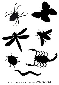 beetles and insects silhouette vector illustration