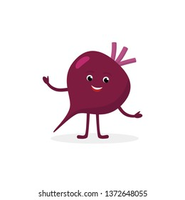 Beetroot cartoon character isolated on white background. Healthy food funny mascot vector illustration in flat design.