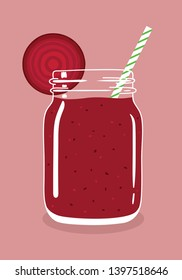 Beetroot juice smoothie in mason jar with slice of fresh ripe raw beetroot and swirled straw isolated on background. Fresh natural healthy detox vegetable drink. Vector hand drawn illustration eps10.