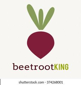 Beetroot vegetable logo icon template design. Purple beet icon logo. Fresh vegetarian concept. Health vegetarian logo isolated on pattern background. Cool simple flat design beetroot symbol.