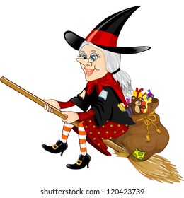 Befana, a character in the tradition of Italian epiphany a witch on a broomstick with a sack full of gifts-transparency blending effects-EPS 10
