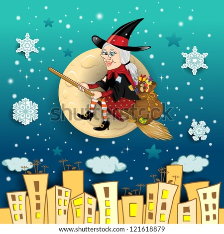 befana a character in the tradition of italian epiphany a witch on a broomstick with - Italian Christmas Witch