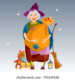Befana. Old woman with  bag of gifts and a broom. Italian Christmas tradition.