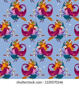 Befana. Old woman flying on a broomstick with a basket of gifts for children. Italian Christmas tradition. Seamless background pattern. Vector illustration
