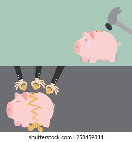 Before and After Broken Piggy Bank on a white background