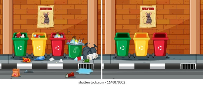 Before and after cleaning dirty street illustration