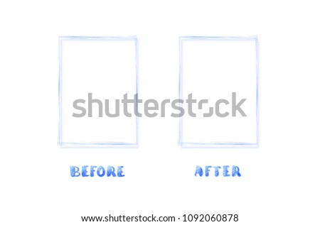 Before After Lettering Frames Isolated Comparison Stock Vector