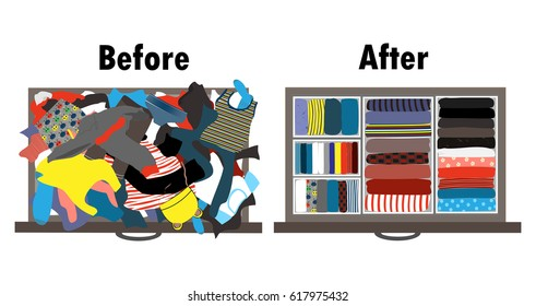 Before and after tidying up kids wardrobe in drawer. Messy clothes and nicely arranged clothes in piles.