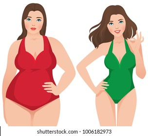 Before and after weight loss fat and slim woman on a white background vector illustration