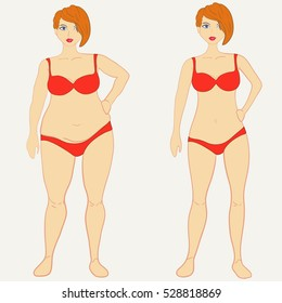Before and after weight loss fat and slim woman