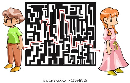 Before meeting our soul mates which connect us with red thread, it's like passing though a maze of obstacles and relationship experiences, create by vector.