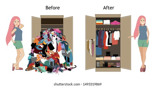 Before untidy and after tidy wardrobe with a girl. A lot of cheap, unfashionable, old messy clothes thrown out of closet and nicely arranged clothes in piles and boxes after the organization.
