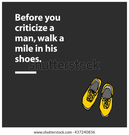 Before You Criticize Man Walk Mile Stock Vector Royalty Free