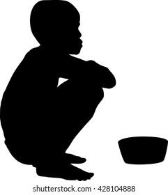 beggar child silhouette