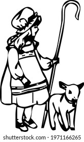 beggar girl with her sheep drawing vector design