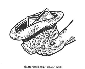 beggar hand with hat and money sketch engraving vector illustration. T-shirt apparel print design. Scratch board imitation. Black and white hand drawn image.