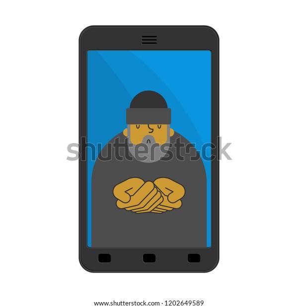 Beggar Phone Homeless Online Virus Phone Stock Vector