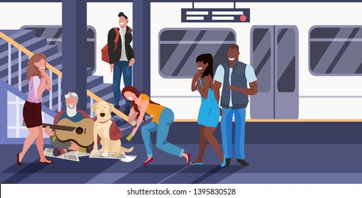 beggar sitting with dog train subway railway underground station mix race passengers giving money to beggar man playing guitar homeless jobless concept horizontal full length