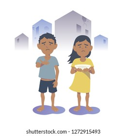 Begging Arabian boy and girl. Begging Southeast Asian boy and girl. Flat vector illustration.