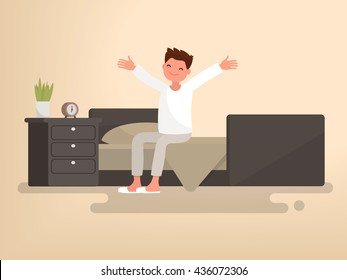 Beginning a good day. Man woke up. Vector illustration of a flat design