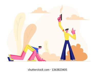 Beginning of Running Competition, Sportsman Runner in Low Position Waiting Signal to Start Run, Man Hold Starting Pistol Watching on Stopwatch. Sport in Human Life. Cartoon Flat Vector Illustration