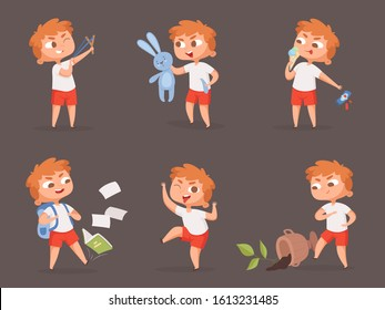 Behavior kids. Bad angry boys teasing children vector cartoon set