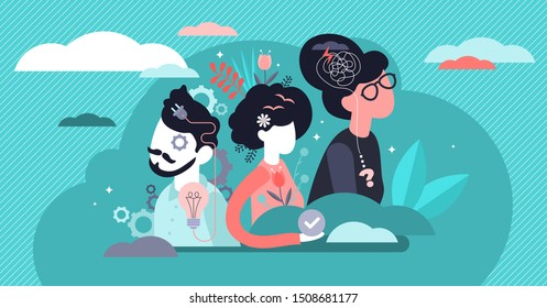 Behavior vector illustration. Flat tiny feelings expression persons concept. Various facial emotion and gestures communication styles collection. Personality type and psychological mindset difference.