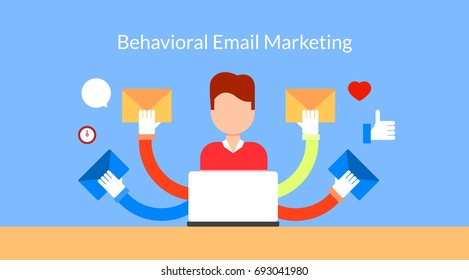 Behavioral email marketing, customer engagement, newsletter promotion flat vector banner with icons
