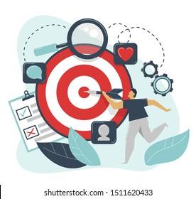 Behavioral targeting concept. Man hit target dart. Audience on customer behavior: likes, comments, reposts, subscription. Marketing segmentation, customers care, customer relationship management, CRM