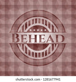 Behead red seamless badge with geometric background.