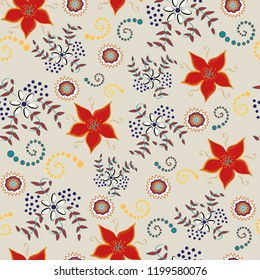beige background with autumn colors blue red gold seamless pattern vector