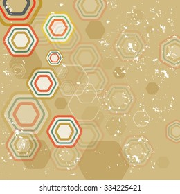 a beige background with hexagons.
