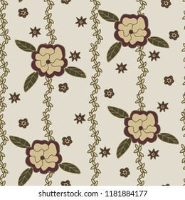 Beige background repeat vector design floral flowers green brown