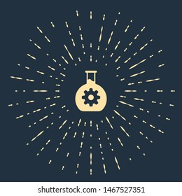 Beige Bioengineering icon isolated on dark blue background. Element of genetics and bioengineering icon. Biology, molecule, chemical icon. Abstract circle random dots. Vector Illustration