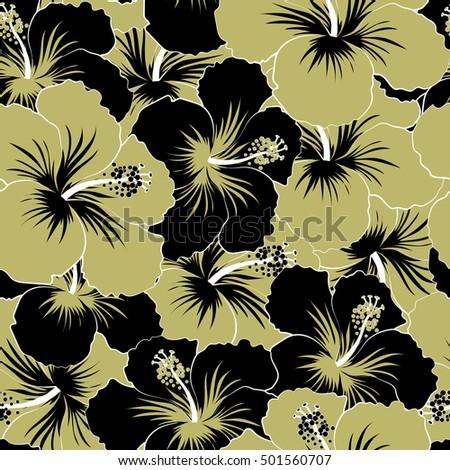Beige Black Hibiscus Flowers Trendy Vector Stock Vector Royalty