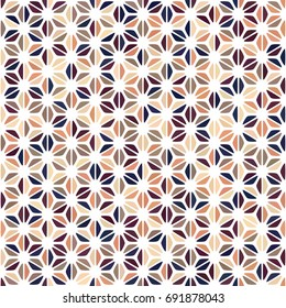 Beige, brown, blush, plum, navy blue gradient spot seamless pattern on white background. Round triangle hemp texture. Abstract vector for prints, textile, fabric, package, cover, greeting cards