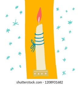 beige burning candle on a gold stand with a blue rope around. yellow background and snowflakes