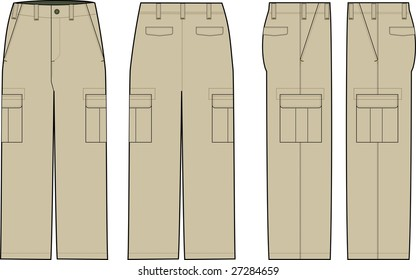 beige cargo pants illustration