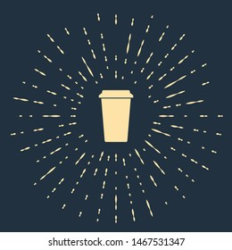 Beige Coffee cup icon isolated on dark blue background. Disposable coffee cup with hot coffee. Abstract circle random dots. Vector Illustration