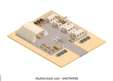 Beige color military isometric composition with with helipad and parking guarded area vector illustration