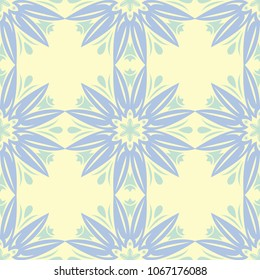 Beige colored floral seamless pattern. Background with light blue and green flower elements for wallpapers, textile and fabrics