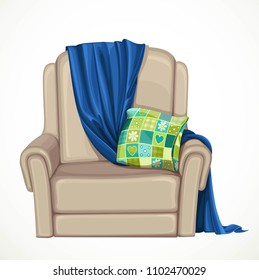 Beige comfortable armchair with dark blue plaid and cozy pillow object isolated on white background