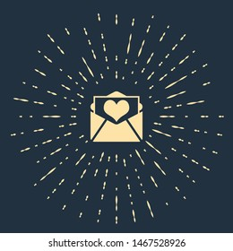 Beige Envelope with Valentine heart icon isolated on dark blue background. Letter love and romance. Abstract circle random dots. Vector Illustration