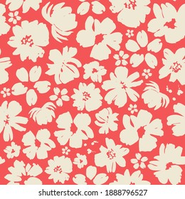 Beige flowers on a red background seamless pattern design. Trendy illustrated vector pattern for brand identity, stationery, wrapping and wallpapers. Minimalistic floral background. Floral shapes.