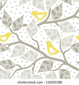 beige gray leaves and yellow birds on branches on dotted white background seasonal seamless pattern